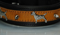 Halsband French-Bully, 45cm x 30mm, rot-schwarz